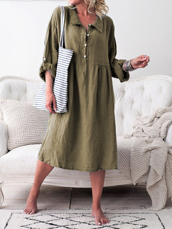 Basic Long Sleeve Shirt Collar Buttoned Dress