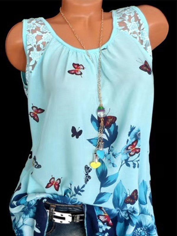 Casual Sleeveless Floral Printed Blouse