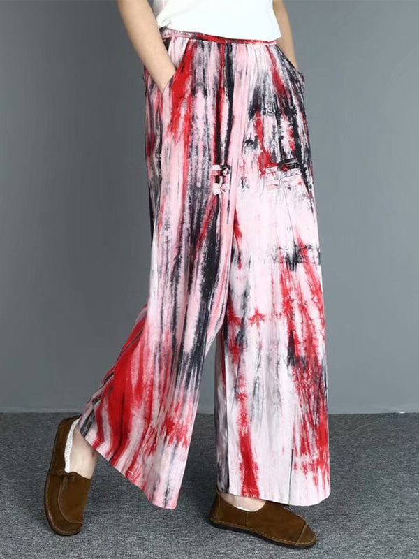 Plus Size Abstract Printed Wide- Leg Pants