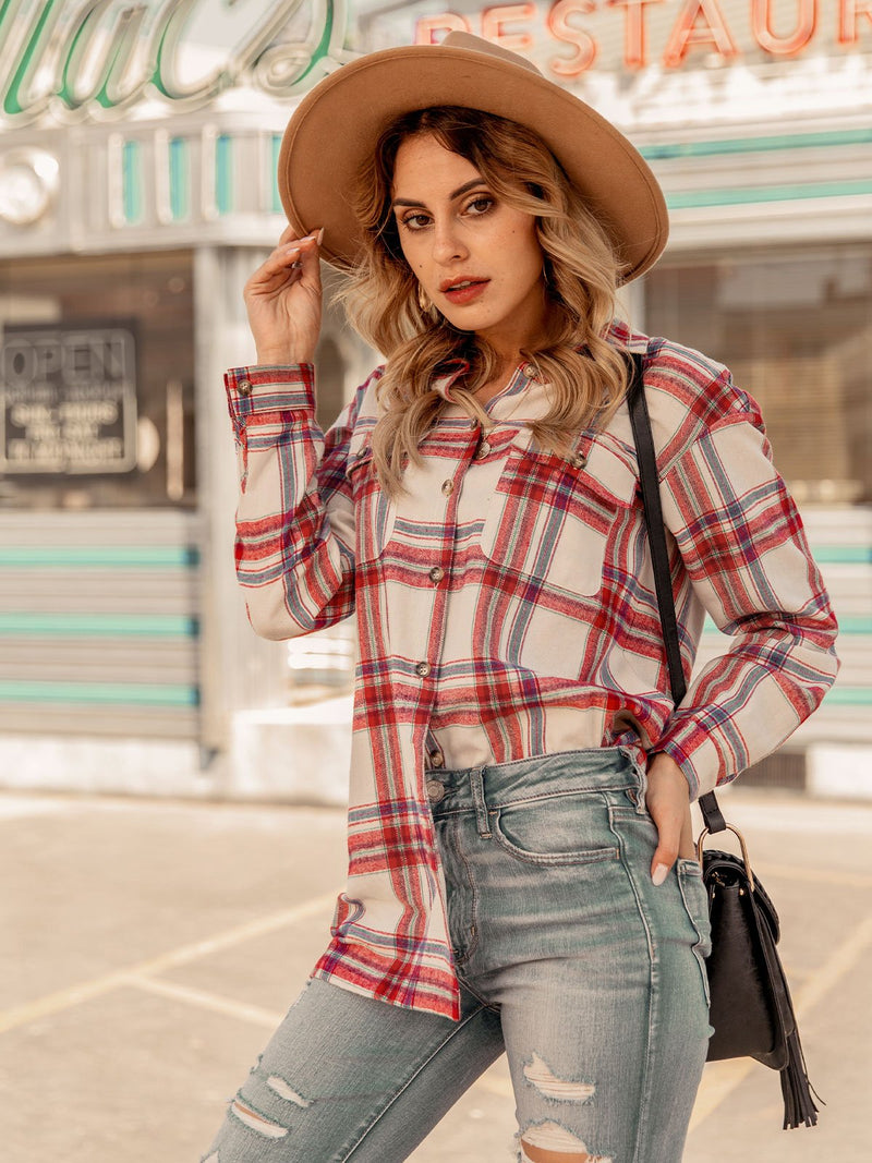 Women Buttoned Checkered/plaid Simple Shirts