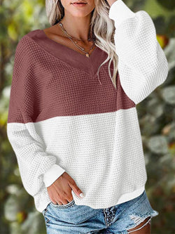 Casual Long Sleeve Color-Block T-Shirts