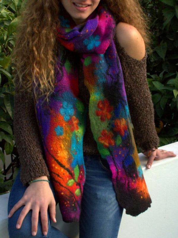 Halloween color-block scarf