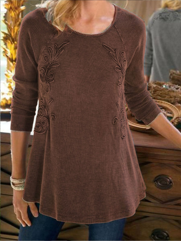 Gray A-Line Embroidered Long Sleeve Cotton Shirts & Tops
