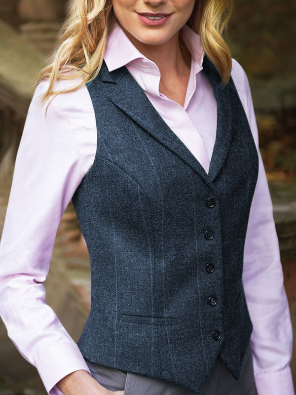 Gingham Lapel Sleeveless Buttoned Jackets