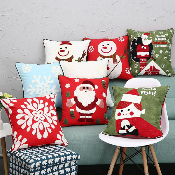 ChristmasSnowman Christmas Snowflake Embroidery Cushion Cover Pillow Case