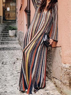 Multicolor Cotton Printed Long Sleeve Dress