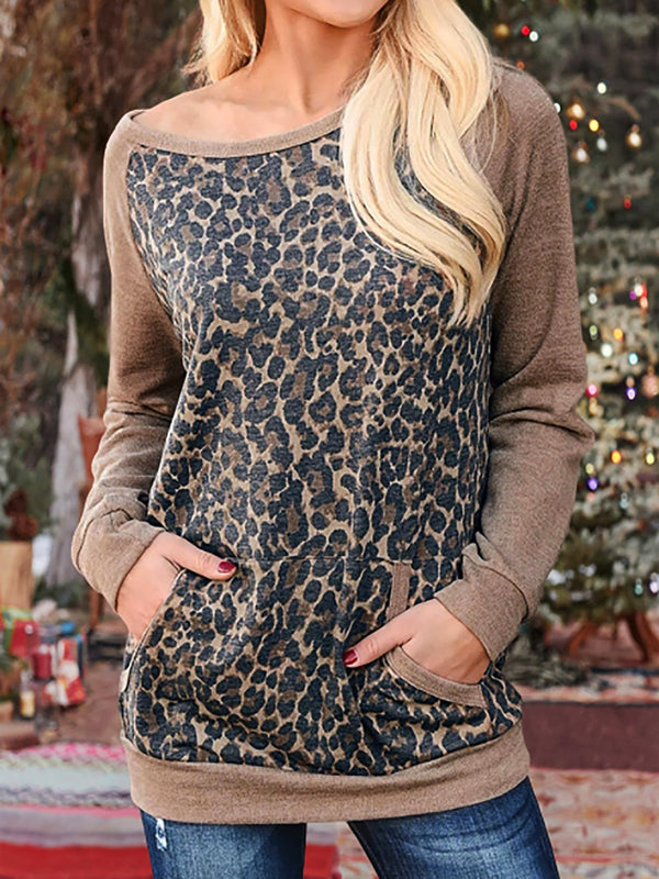 Double Pockets Long Sleeve Leopard Shirts