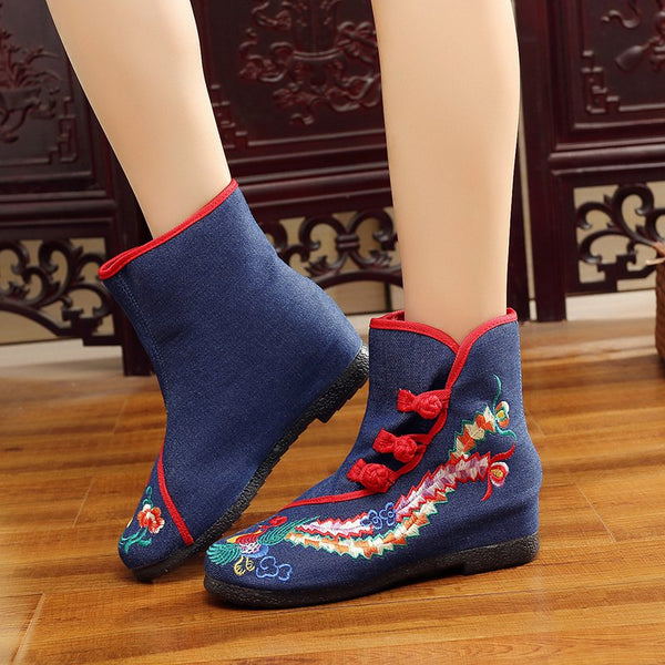 Women's canvas vintage comfortable floral embroidery button boots