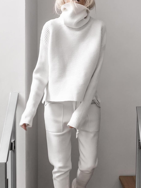 Turtleneck Knitted Two Pieces Pants Suits