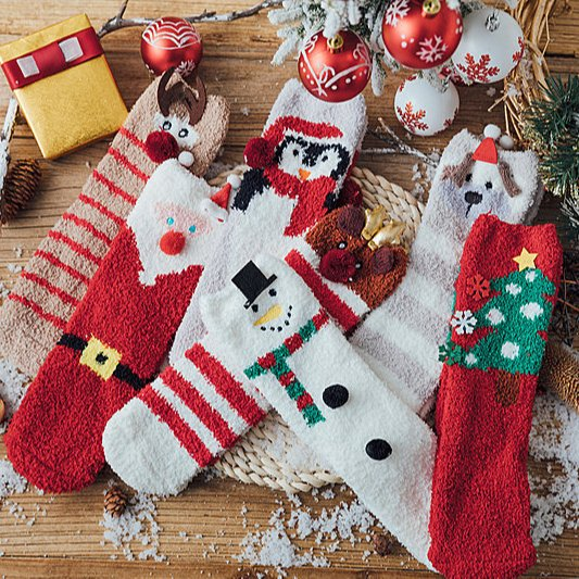 Christmas Gift Box - 3 pairs of Warm Thick Socks - Gift Package