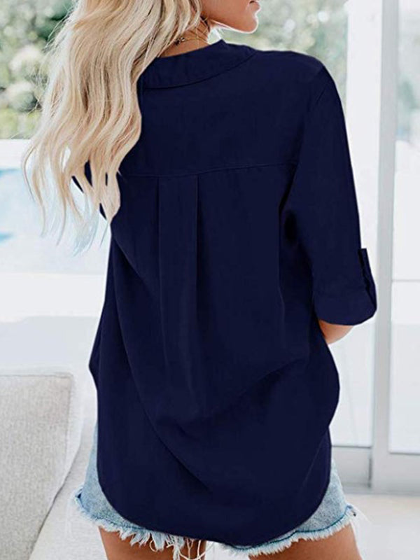 Shirt Collar Long Sleeve Buttoned Casual Solid Blouse