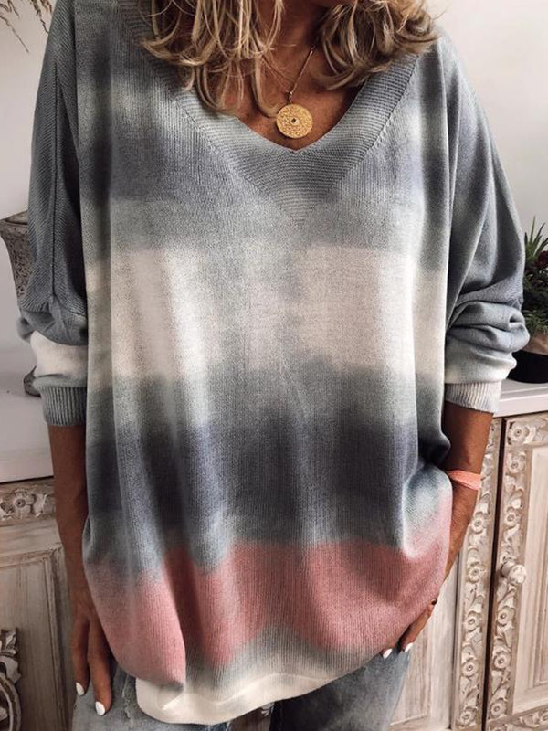 Casual Plus Size Tie-Dye Long Sleeve V Neck Tops