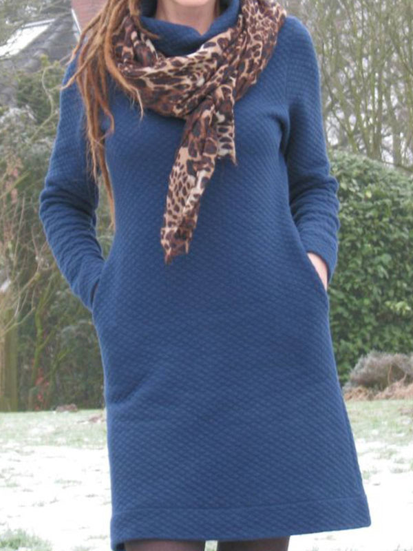 Blue Long Sleeve Casual Cotton Plain Dresses