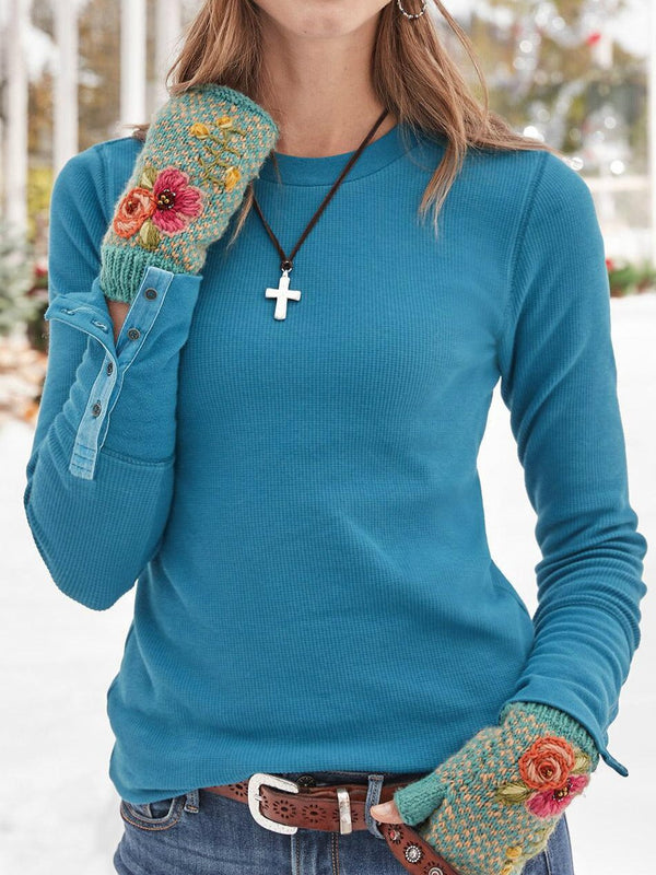 Blue Boho Round Neck Shirts & Tops