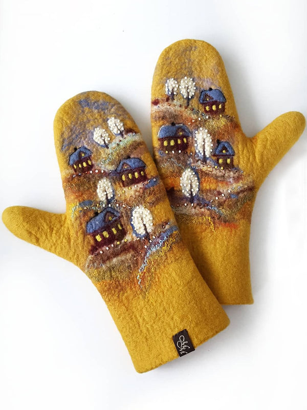 Yellow Casual Gloves & Mittens