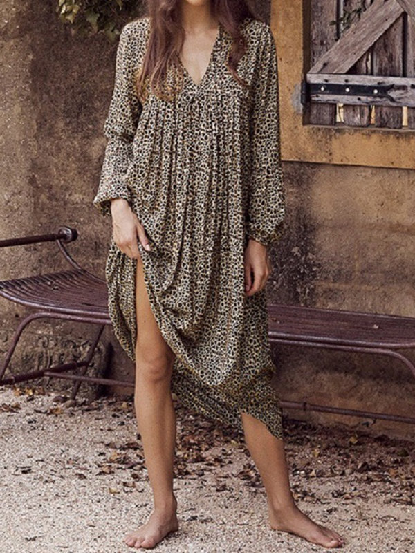 Women V Neck Holiday Leopard Print Midi Dresses