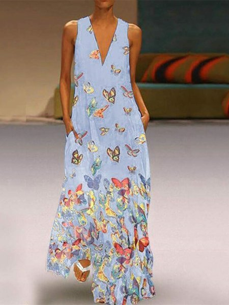 Butterfly Printed Maxi Dresses V Neck White Women Dress Shift Daily