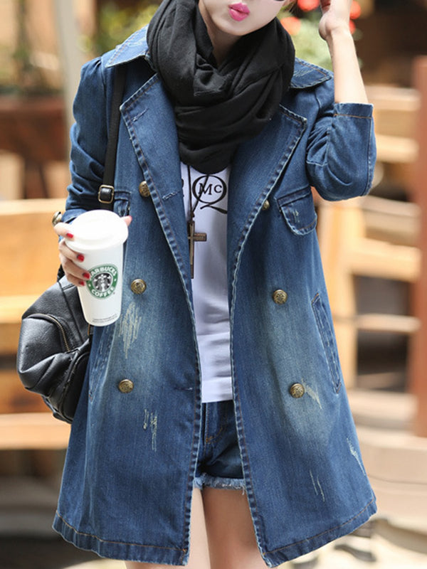 Washed Denim Pockets Long Sleeve Shawl Collar Plus Size Coat