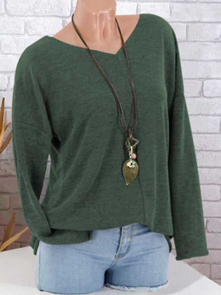 Coffee Knitted Solid V-Neck Casual Hoodies & Sweatshirt