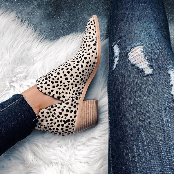 Leopard All Season Chunky Heel Slip On V-Cut Ankle Boots