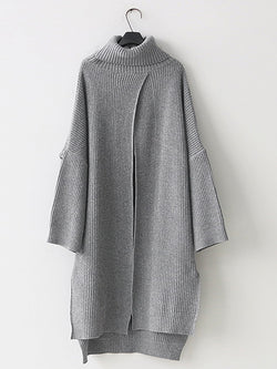 Gray Casual Solid Knitted Acrylic Knitwear