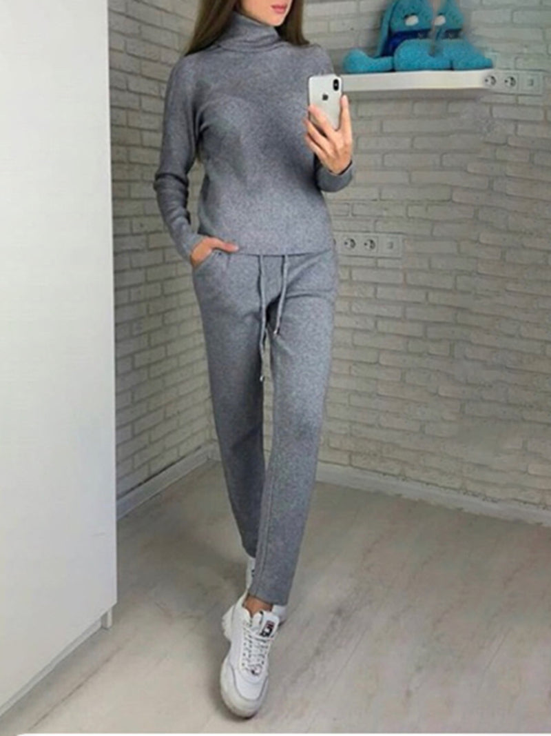 Winter Turtle Neck Casual Sweater Sets