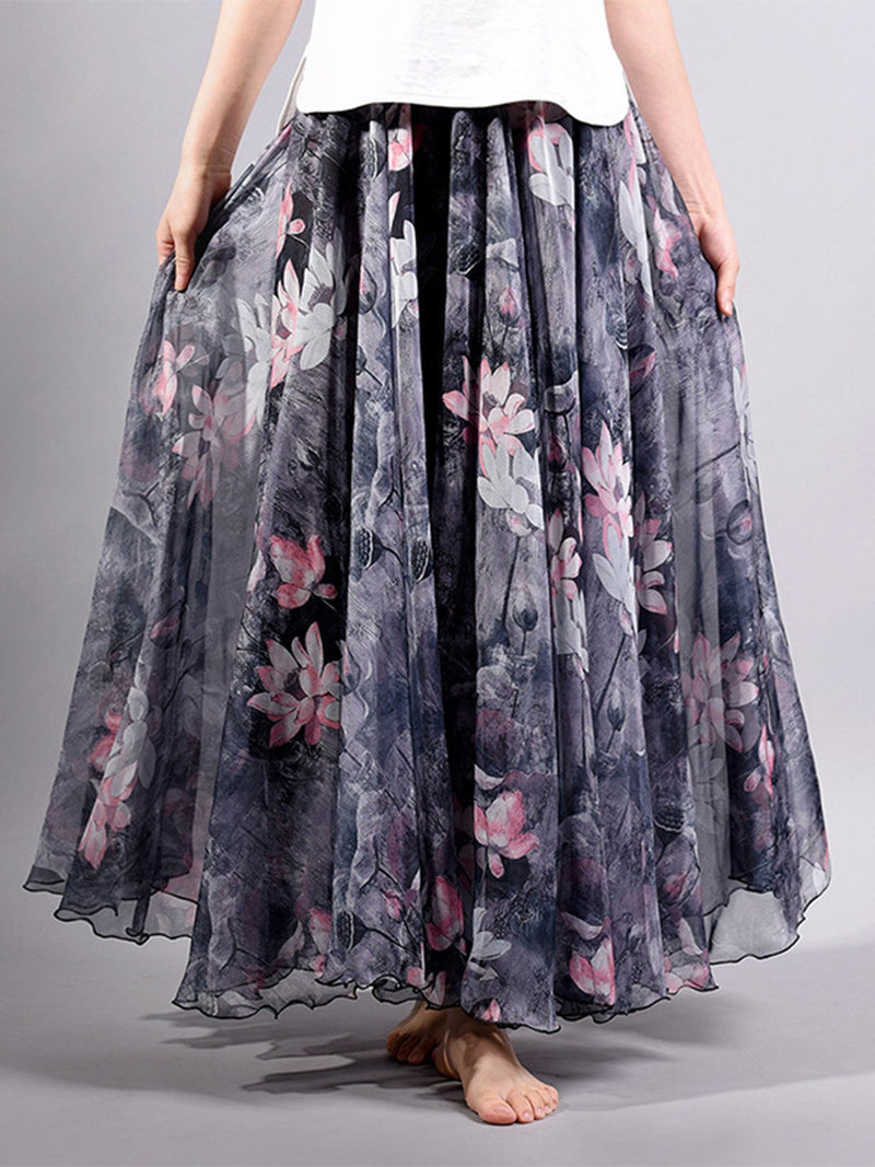 Swing Casual Floral Printed Skirt