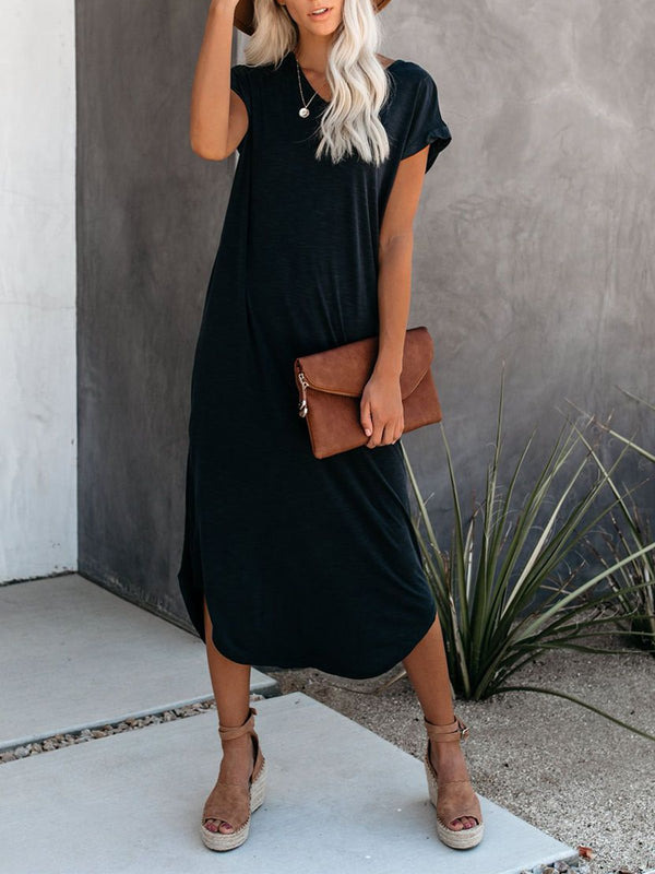 Casual Solid Short Sleeve Dresses