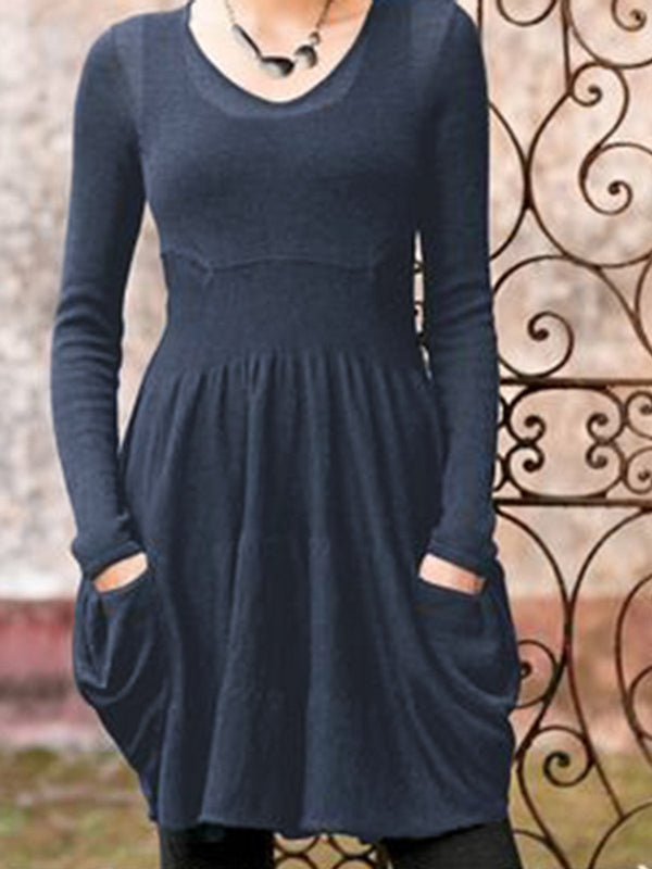 Crew Neck Shift Long Sleeve Dresses