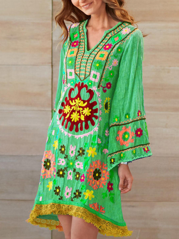 V Neck Boho Printed Cotton-Blend Dresses
