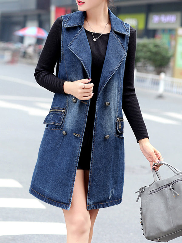 Dark Blue Shift Denim Casual Outerwear