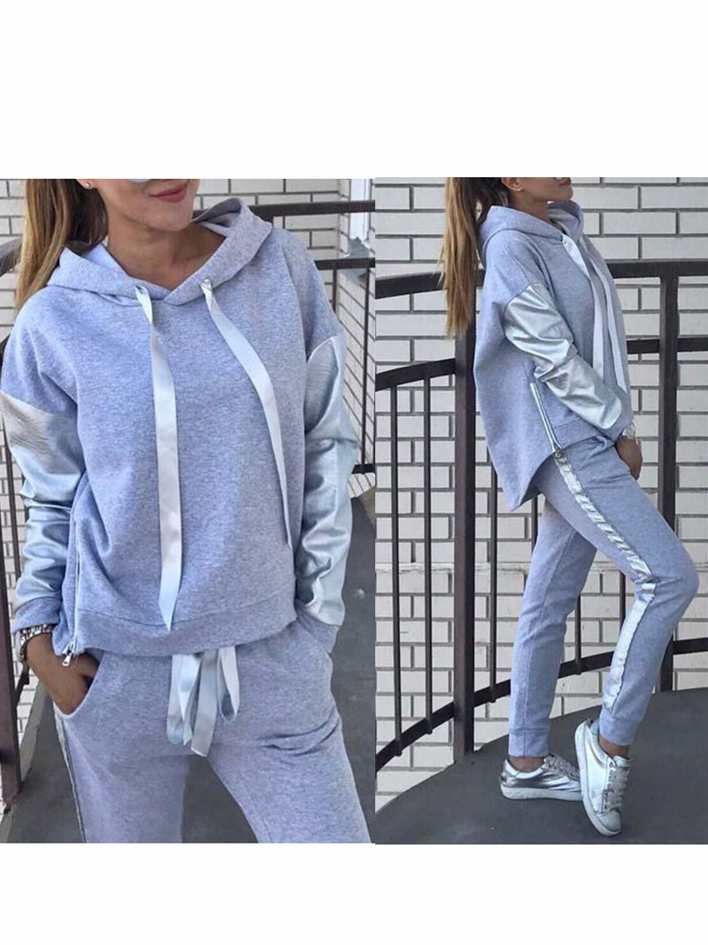 Paneled Fabric Asymmetric Casual Hoodie Sets