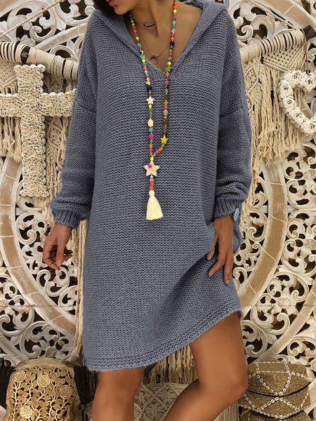 Gray Hoodie Paneled Long Sleeve Knitted Dress