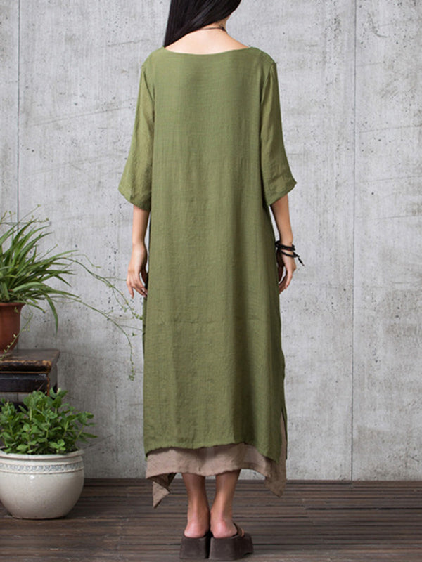Crew Neck 3/4 Sleeve Casual Solid Dress