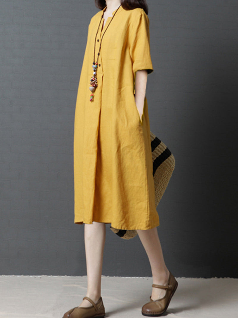 Half Sleeve Pockets A-line Casual Stand Collar Plus Size Dress