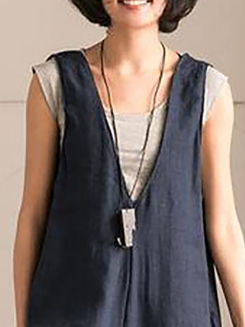 Casual V Neck Sleeveless Solid Bottoms