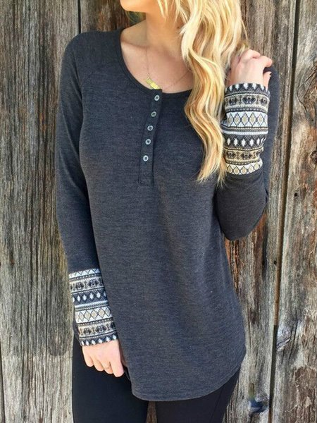 Gray Long Sleeve Vintage Cotton Tops