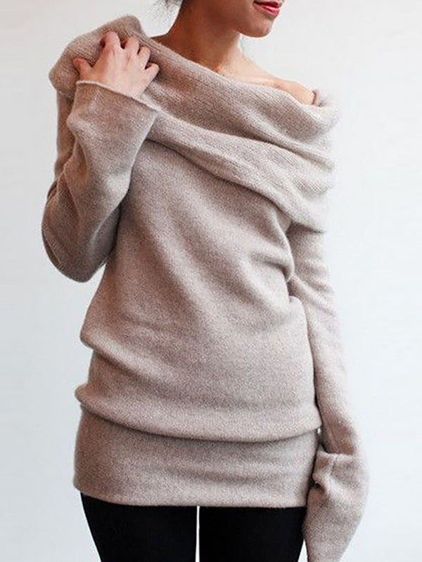 Khaki Solid Cowl Neck Casual Knitted Sweater