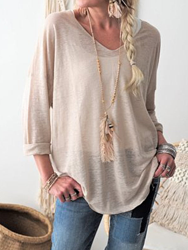 Light Gray Casual Plain Long Sleeve Tops