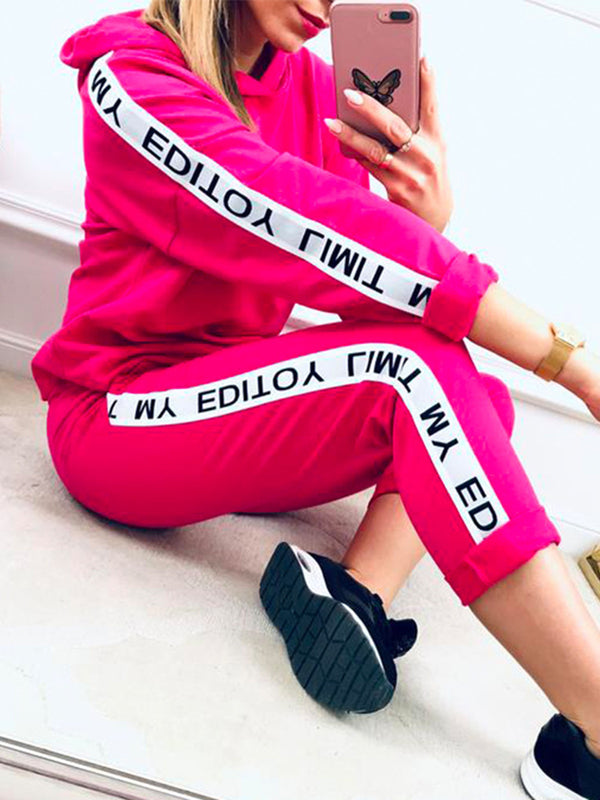 Plus Size Women Suits Letter Hoodie Tops Drawstring Pants Casual Sets