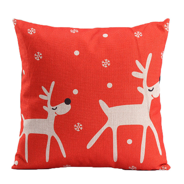 Christmas Linen Pillow Throw Xmas Deer Cushion Cover Home Decor