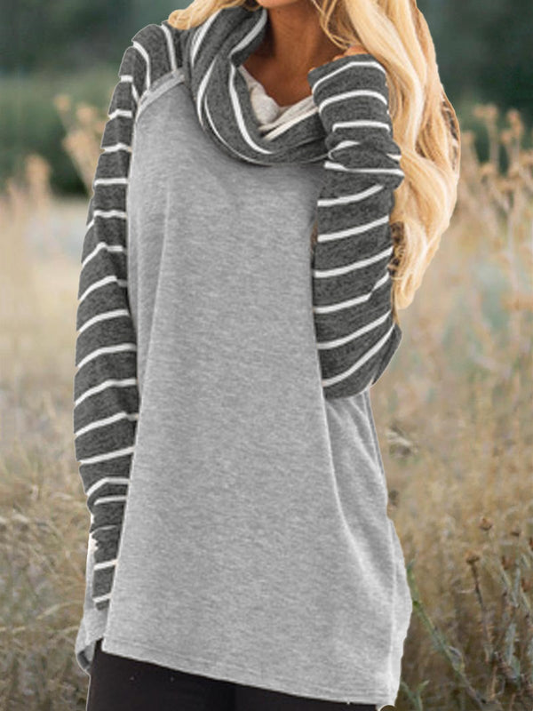 Striped Turtleneck Long Sleeve Casual T-shirt