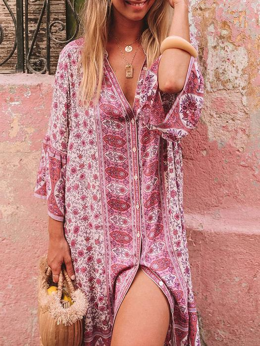 5 Colors Summer Bohemian Style V Neck Sexy Printed Dress