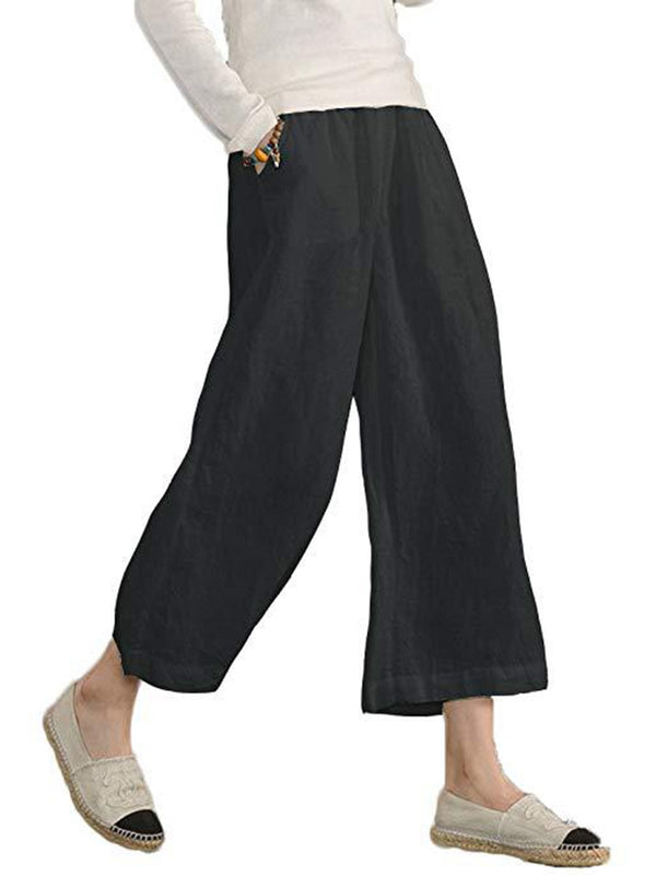 Pockets Linen Casual Pants