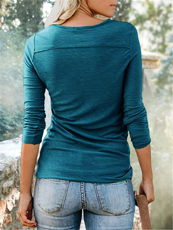 Casual V Neck Long Sleeve Buttoned Down Tops