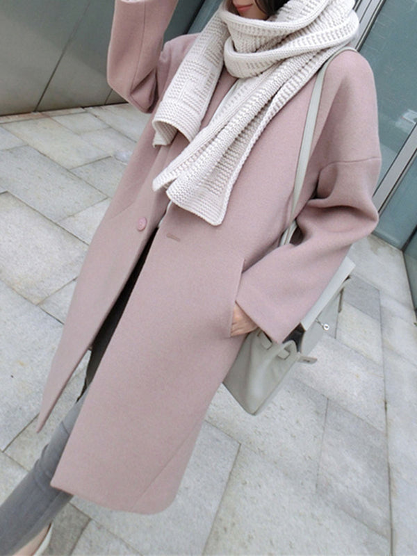 Pink Wool Blend Shawl Collar Long Sleeve Plain Outerwear