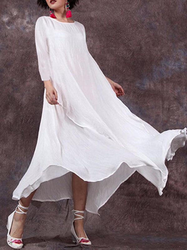 Plus SIze Solid Swing A-Line Linen Big Hem Maxi Dresses