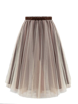 A-line Solid Organza Casual Skirt