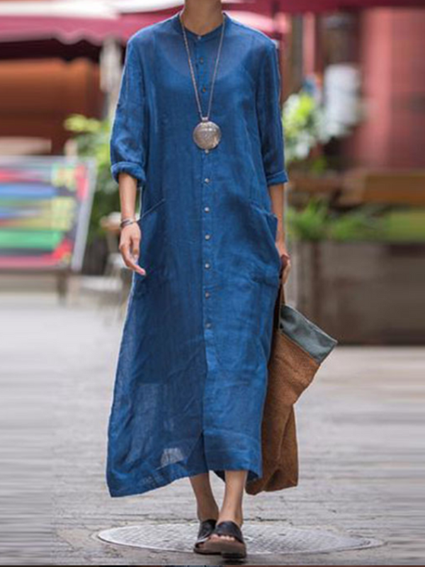 Fall Blue Stand Collar Cotton Pockets Casual Dress