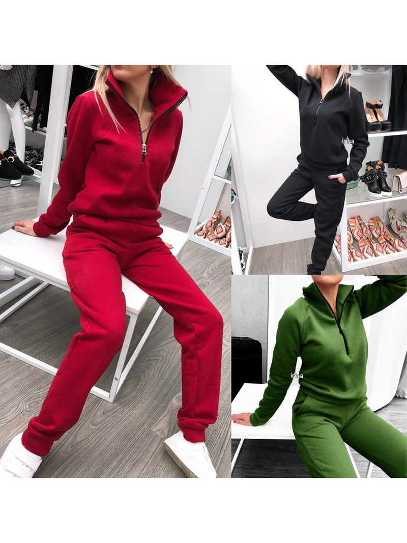 Casual Zipper Solid Sweatsuits